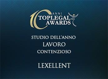 Lexellent è lo studio dell'anno nella categoria Lavoro – Contenzioso, ai Top Legal Awards 2016.